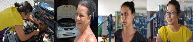 DIA DA MULHER Mãe e filhas, mecânicas por excelência montagem Política In Rosa